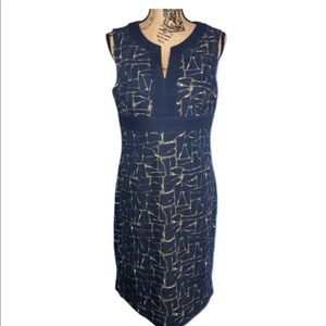 Boden Notch Neck Shift Dress WH249 Navy